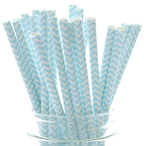 Boy Baby Shower Straws, Light Blue Chevron Zig-Zag Paper Straws (25 Pack) - Wedding Party Straws, Beverage Drinking Straws, Baby Shower Party Favors -