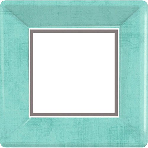 Amscan Durable Turquoise and Gray Solid Border Square Dinner Plates Party Tableware, Paper, 10'' x 10'', Pack of 18