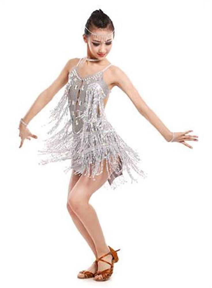 Argent peiwen Les Filles des Spectacles de Danse Latine Robe frangée Enfant scène Spectacle de Danse Jupe vêtements de Formation de Danse 110cm