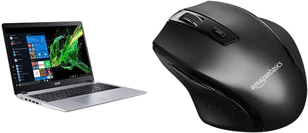 Acer Aspire 5 Slim Laptop, 15.6%22 Full HD IPS Display, AMD Ryzen 3 3200U, Vega 3 Graphics, 4GB DDR4, 128GB SSD, Backlit Keyboard, Windows 10 & AmazonBasics Ergonomic Wireless PC Mouse - Black