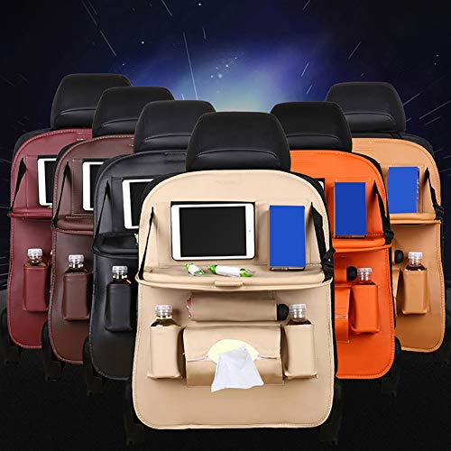 Opla3ofx Multi-Pocket Back of Seat Organizers Faux Leather Car Seat Back Storage Bag Dining Rack Holder Beige