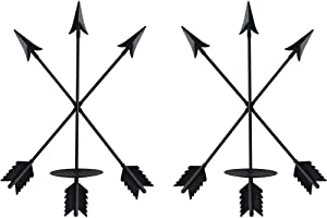 """smtyle DIY Arrow Candle Holders Set of 2 for Wall Decor with Black Iron 3.5"""" Diameter Ideal for Pillar LED Candles"""