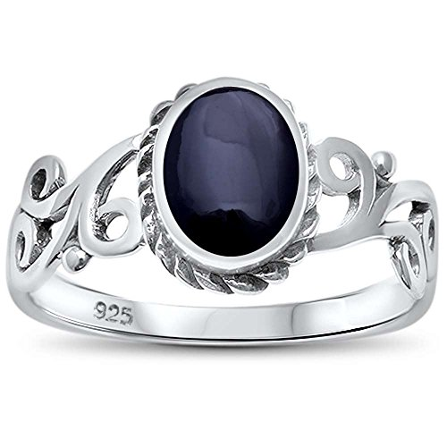 Sterling Silver Simulated Black Onyx Antique Filigree Ring Sizes 6