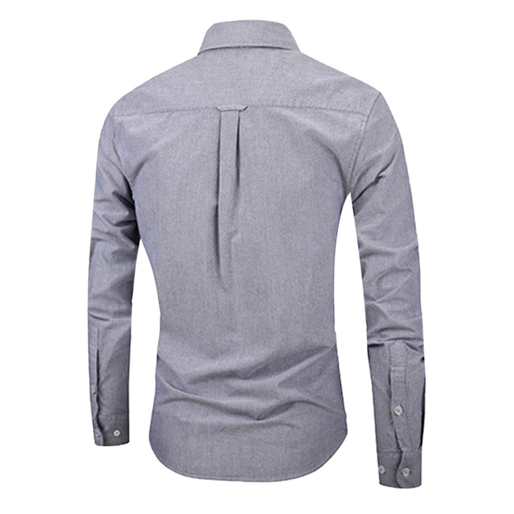 Palarn Mens Fashion Sports Shirts Mens Long Sleeve Pure Color Button Painting Large Size Casual Top Blouse Shirts