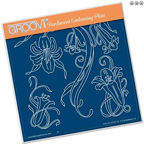 - Groovi Parchment Embossing Plate - Jaynes Trumpet Lilies A5 - Laser Etched Acrylic for Parchment Craft