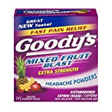 fruit blast - Goody's Extra Strength Headache Powders - Acetaminophen, Asprin, & Caffeine Quickly Relieve Pain Due to Headaches, Body Aches, and Fever - Mixed Fruit Blast Flavor- 24 Powders