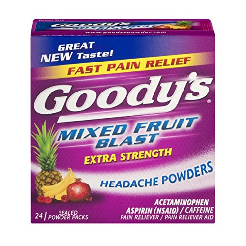 Goody's Extra Strength Headache Powders - Acetaminophen, Asprin, & Caffeine Quickly Relieve Pain Due to Headaches, Body Aches, and Fever - Mixed Fruit Blast Flavor- 24 Powders