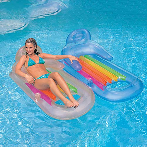 Iusun Inflatable Swimming Floating Row,Clear Handrail Backrest Luxury Loating Bed Water Play Raft Tube Swim Ring for Outdoor Pool Lake Beach (Multicolor) ()