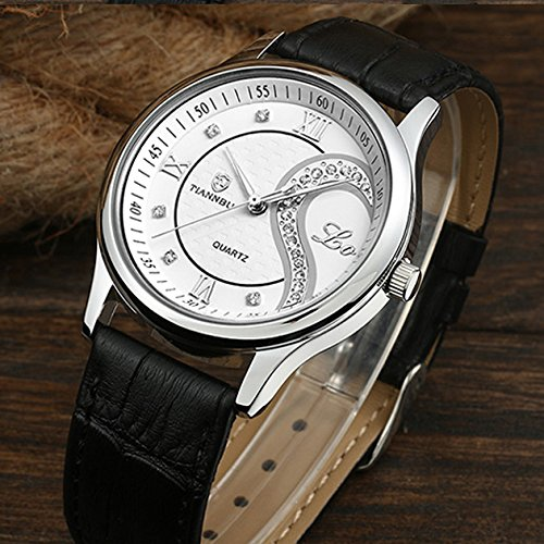 Ultrathin Leather Romantic Pair His and Hers Wrist Watches Sets for Couples White Set of 2 by DREAMING Q&P (Image #4)