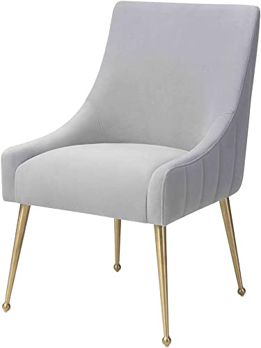 MEXIYA Irina Dining Chair Modern Light Grey Easy Clean Velvet Upholstered Side Chair