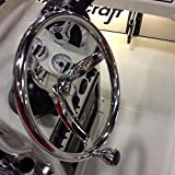 """HOFFEN Stainless Steel 13-1/2"""" Dia Steering Wheel 3 Spokes With Turning Knob1/2"""" Nut Boat Marine for Teleflex Cable Helm"""