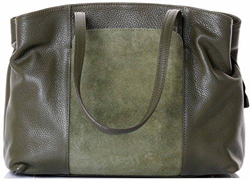 Primo Sacchi Italian Textured Leather Olive Green Hand Made Large Long Handle Shoulder Bag Handbag, with Suede Front Panel Pocket, Includes a Branded Protective Storage Bag ()