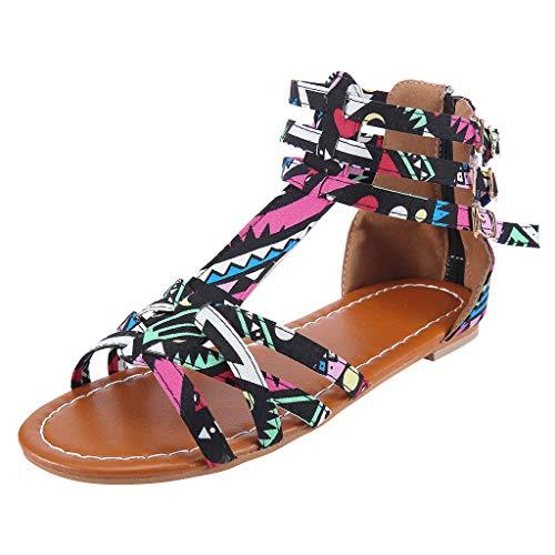 Women's National Wind Sandals TANGSen Ladies Bohemian Style Sandals Large Size Contrast Beach Outdoor Beach Sandals Black