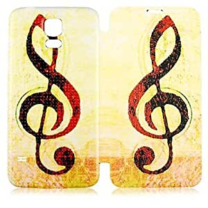 PEACH- Musical Note Pattern PU Leather Full Body Case for Samsung Galaxy S5 I9600