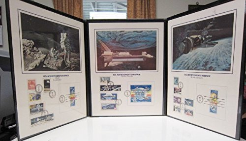 US Achievements in Space Stamp Collector's Art Panels Tri-fold Set Fleetwood - Panel Fleetwood