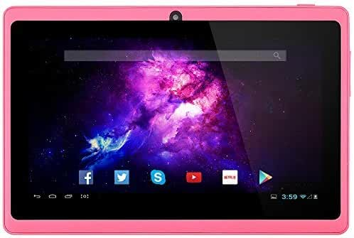 Alldaymall 7'' Tablet - Android 4.4, Quad Core, HD 1024x600, Dual Camera, Bluetooth, Wi-Fi, 8GB, 3D Game Supported - Pink