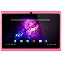 Alldaymall 7 Tablet - Android 4.4, Quad Core, HD 1024x600, Dual Camera, Bluetooth, Wi-Fi, 8GB, 3D Game Supported - Pink