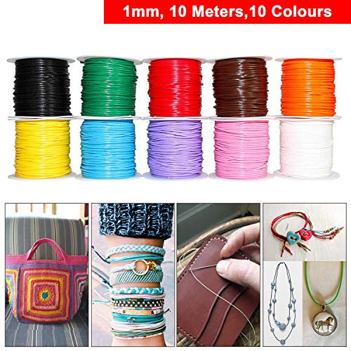 109 Yards, 10 Colors, 1.0 mm Waxed Cotton Cord Thread for Jewelry Making, Crafting, Macrame, Leather Works, Sewing, Binding, Gift Wrapping, Stringing, Lacing, Friendship Bracelets, Scrap Booking ()