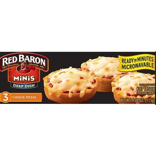 Red Baron Deep Dish Mini Cheese Pizza, 4.08 Ounce - 3 per pack -- 24 packs per case. (Red Pack Pizza Sauce)