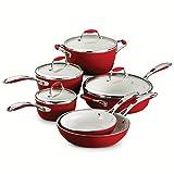 Tramontina 80110/202DS 10-Piece Gourmet Ceramica 01 Deluxe Cookware Set, Metallic Red