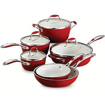 Tramontina 80110/202DS Gourmet Ceramica Deluxe Cookware Set, PFOA- PTFE- Lead and Cadmium-Free Ceramic Exterior & Interior, 10-Piece, Metallic Red, ...