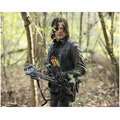 The Walking Dead Norman Reedus in leather jacket holding crossbow 8 x 10 Inch Photo
