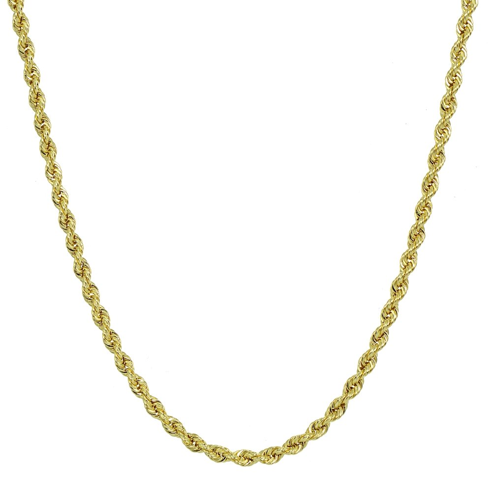14K Yellow Gold 1.8mm Hollow Twist Rope Chain Necklace for Men and Women, 16 Inches