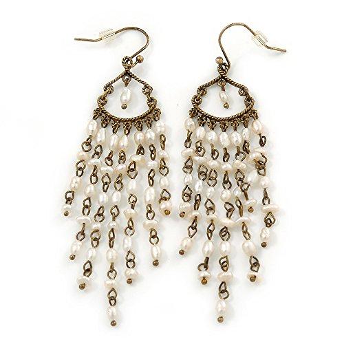 Vintage Inspired Freshwater Pearl Chandelier Earrings In Bronze Tone Metal - 80mm (Inspired Pearl Earrings)