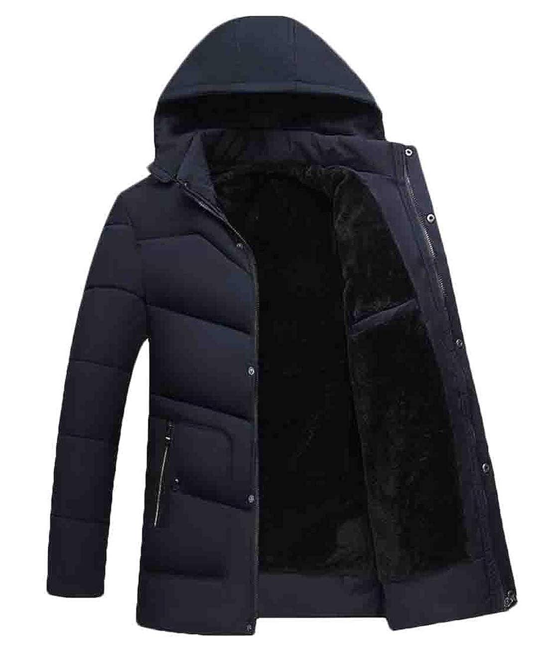 Frieed Men Hooded Casual Outwear Zipper Thicken Fleece Lined Down Puffer Jacket