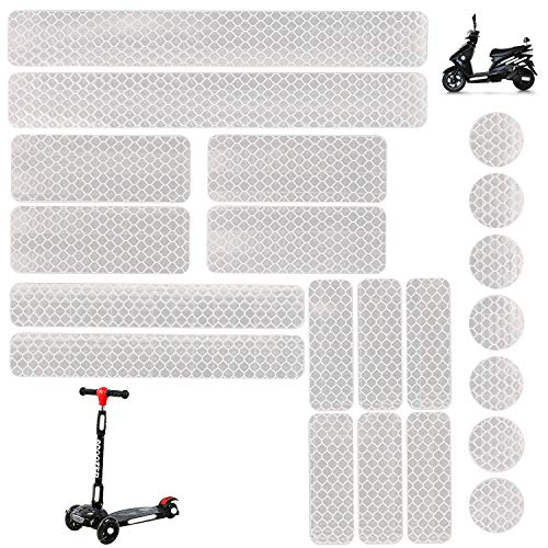 - 21PCS Reflective Stickers Kit, White Universal Adhesive Decals for Motorcycle Helmets Hard Hat Bicycle Stroller Wheelchair Buggy Scooter Toys Car Bumper Vinyl Window Night Visibility Safety
