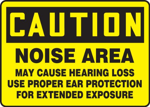 """Accuform MPPE401VS Sign, Legend""""CAUTION NOISE AREA MAY CAUSE HEARING LOSS USE PROPER EAR PROTECTION FOR"""", 10"""" Length x 14"""" Width x 0.004"""" Thickness, Adhesive Vinyl, 10"""" x 14"""", Black on Yellow"""