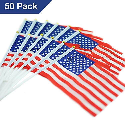 Springen USA Stick Flag American Stick Flag Small Mini Flag 50 Pack Hand Held Flag Country National International Flags,Home Decoration Flag,Outdoor Decoration,Flag Decoration.
