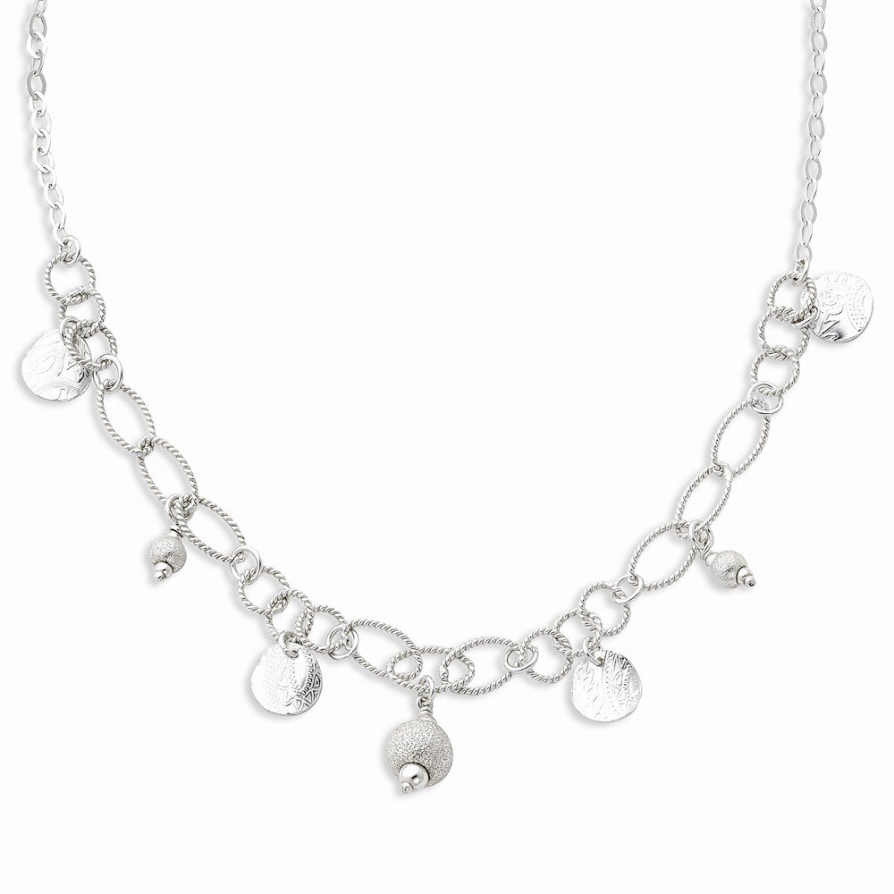 925 Sterling Silver Textured Circle Chain Necklace Pendant Charm Fancy Fine Jewelry Gifts For Women For Her