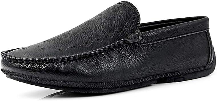 Zhulongjin Mocasines sin Cordones for Hombres Ocasionales for Hombres Mocasines livianos for Caminar Zapatos náuticos Patrón de Talla Cuero Genuino Suela Plana Suave Resistente al Desgaste Moda: Amazon.es: Hogar