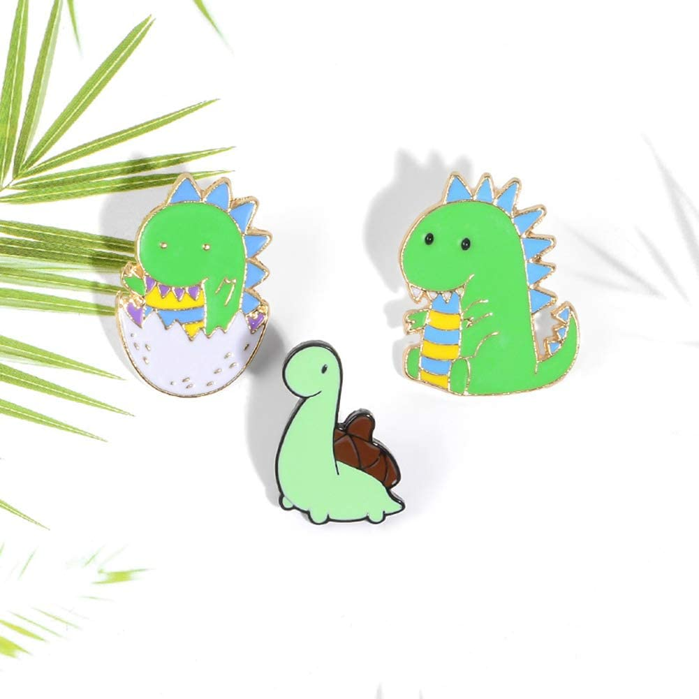 MileHouse prettDliJUN Cartoon Style Small Dinosaur Shaped Tortoise Enamel Alloy Brooch Pin Lapel Denim Clothes Jacket Badge XZ2575
