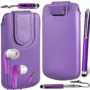 N4U Online Premium cuero de la PU del caso del tirón Tirar Tab cubierta de bolsa Con magnética Cierre de correa, Auricular Auriculares y 3 Pack Bundle Stylus para HTC Sensation - púrpura