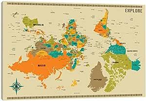 iCanvasART Impressão em tela com mapa do mundo novo de
