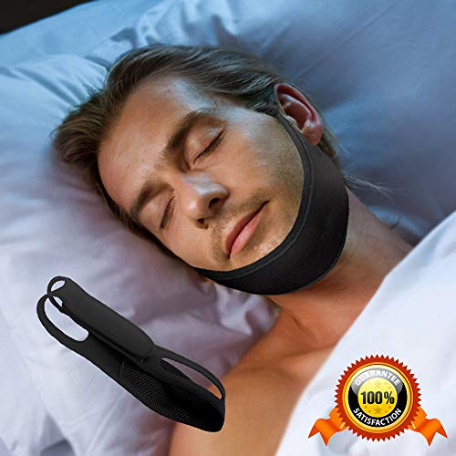 Anti Snore Chin Strap to Help Good Sleep - Advanced Snoring Solution Scientifically Designed to Stop Snoring - Adjustable Snore Reduction Straps for Men Women Kids (Black-Straight)