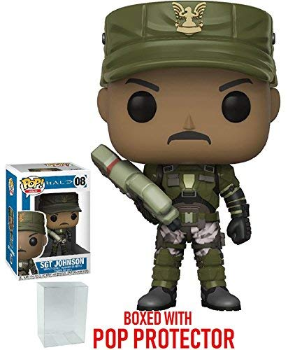 (Funko Pop! Games: Halo - Sergeant Johnson Vinyl Figure (Bundled with Pop Box Protector Case) )
