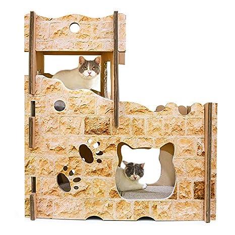 Pet Corrugado Gato Castillo Gato Casa Gato Scratch Board Gran Gato De La Basura: Amazon.es: Productos para mascotas