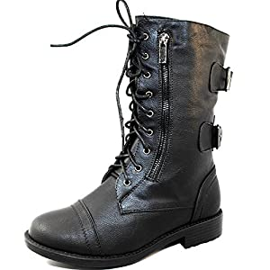 TrendSup Anya-1 Women's Military Lace up Mid Calf Combat Boots (10, Black)