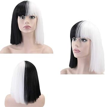 RemeeeHi - Peluca de pelo corto y recto para disfraz de adulto de ...