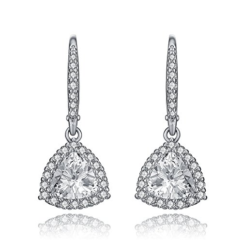 Lux and Glam-Romantic Cubic Zirconia Fine Heart Shape Drop Style Earrings Surrounded with Smaller Stones,Set in Rhodium Plated Sterling Silver (Triangle Shape)