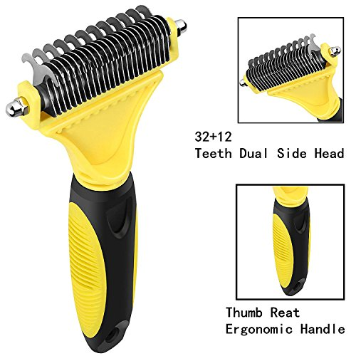 CU QUAN Pet Grooming Tool, 2 Sided Undercoat Rake, Easy Mats & Tangles Removing, Safe Dematting Comb Perfect for Dogs & Cats (Yellow) by CU QUAN (Image #1)