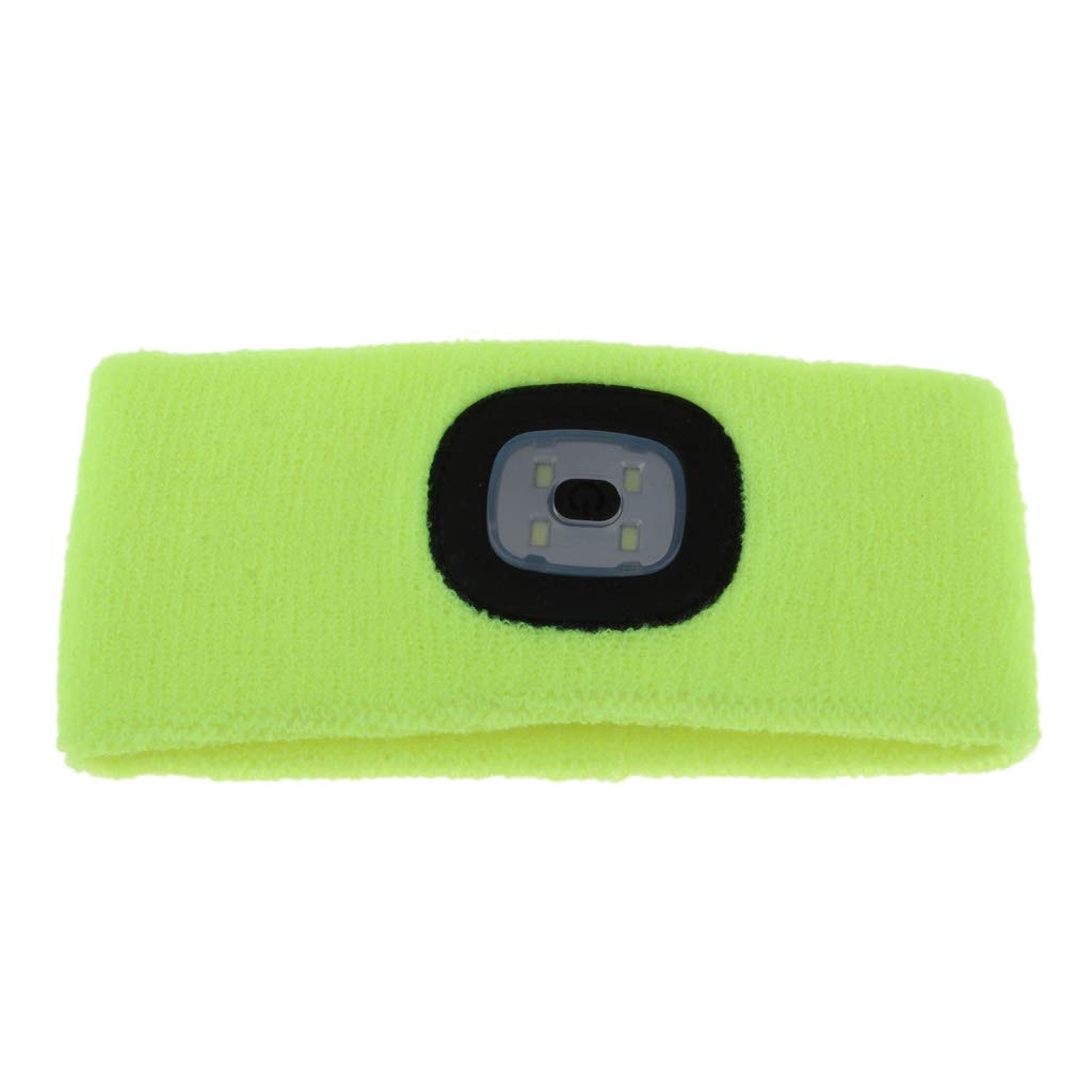 Baosity Hands Free LED Lighted Battery Powered Headlamp Braided Headband Sweat Band - Black