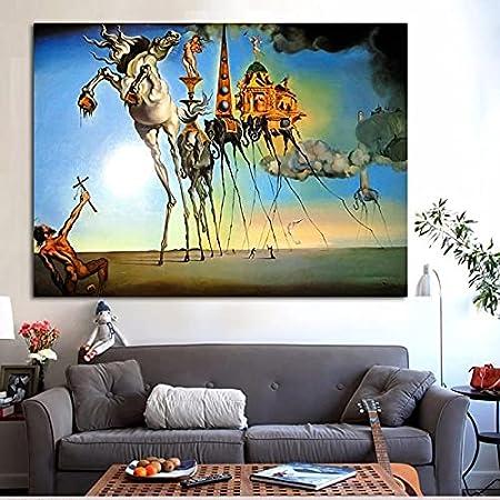 Lienzos Pintura al óle Salvador Dali arte abstracto caballo elefante pintura al óleo sobre lienzo carteles e impresiones Cuadros cuadros de arte de pared para sala de estar 50x75cm