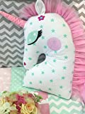 Lappi Baby Unicorn Pillow - Decorative Unicorn Emoji Pillow (Pink) - 100% Hypoallergenic Cotton Unicorn Pillow - Great for Home Decorations & Birthday Party - Baby Stuffed Animal Toy