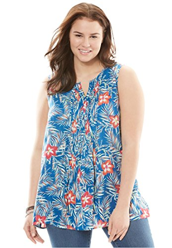 Women's Plus Size Sleeveless Pintuck Tank Bright Cobalt Hibiscus,14/16 (Tunic Hibiscus)