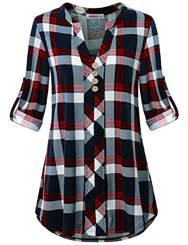 MOQIVGI Classy Tops,3/4 Sleeve Cuffed Plaid Printed Decorative Button Vneck Fresh Blouses Modern Fit Unique Simple Textured Everyday Shirt Boutique Latest Women Clothing 2018 Blue Red X-Large