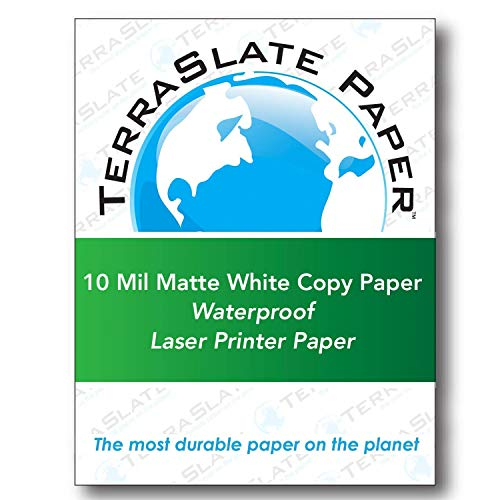 - TerraSlate Copy Paper Waterproof Laser Printer, Rain Weatherproof, 10 MIL, 8.5x11-inch, 25 Sheets
